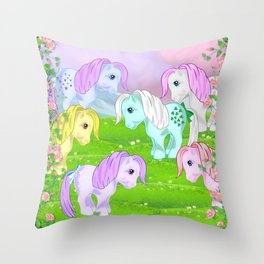 g1 my little pony collector ponies Throw Pillow
