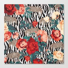 Pattern flowers-animals Canvas Print