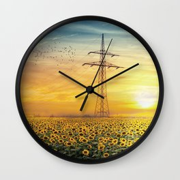 Sunset Sunflowers Landscape Wall Clock