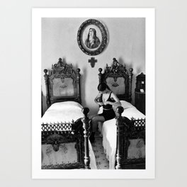 Under the Habit, Veil, Scapular, and Cowl Nun dressing in bra classic black and white photograph Art Print