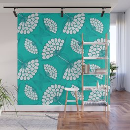 African Floral Motif on Turquoise Wall Mural
