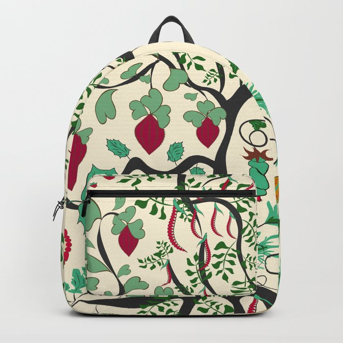 Fairy seamless pattern garden with plants, tree and flowers Backpack