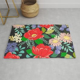 Happiness and Joy Vibrant Colorful Floral Pattern Rug