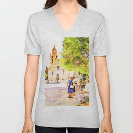Teramo: elderly men and women seated in the cathedral square Unisex V-Neck