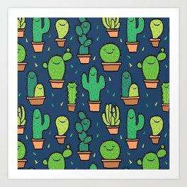 Cute Happy Cactus Cacti Pattern Dark Blue Art Print