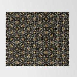 Asanoha -Gold & Black- Throw Blanket