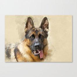 German Sheppard Portrait Canvas Print