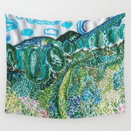 cheerful handmade embroidery in the digital world Wall Tapestry
