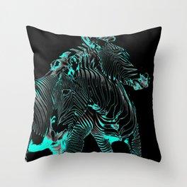Turquoise Inverse Zebras Throw Pillow