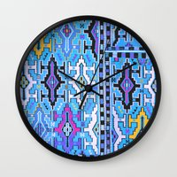 kilim Wall Clocks featuring Aztec Kilim by EllaJo
