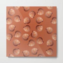 Orange big Clam pattern Illustration design Metal Print