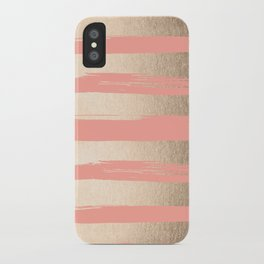 Painted Stripes Tahitian Gold on Coral Pink iPhone Case