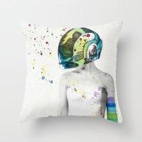robot Throw Pillows featuring Robot Rock #2 by Jenny Liz Rome