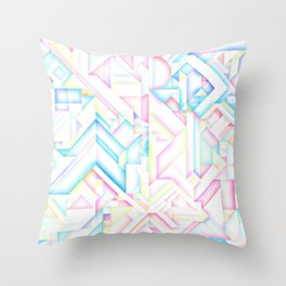 90s Inspired Print // GEOMETRIC PASTEL BRIGHT SHAPES PATTERN GRAPHIC DESIGN Throw Pillow