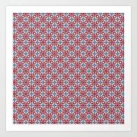 red white blue Art Print