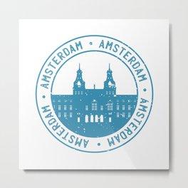 Amsterdam Skyline Stamp Design Metal Print