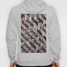 Modern Black and White Marble Rose Gold Crisscross Hoody