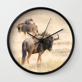 Group of wildebeest Wall Clock