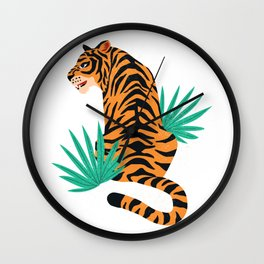 Tiger with leaves Wall Clock