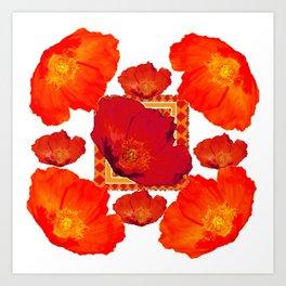 ORANGE-RED POPPIES MODERN COLLAGE ART Art Print