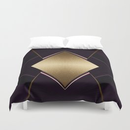 Rich Gold and Purple Accent Diamond Pattern Duvet Cover