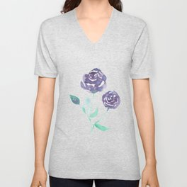 Purple Rose Bush Unisex V-Neck