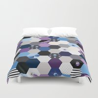 bugs Duvet Covers featuring Hexagons & Bugs by Jessee Maloney - Art School Dropout