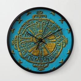 Hunab Ku Mayan symbol Vintage gold on old stone Wall Clock