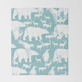 Polar gathering (peppermint) Throw Blanket