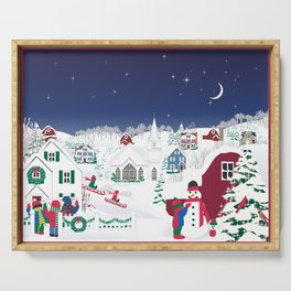Christmas carolers in the country Serving Tray