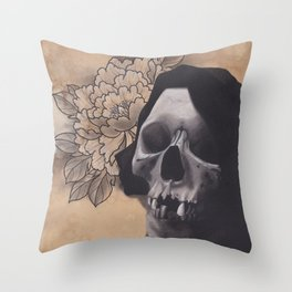 Realism Drawing of Reaper with Traditional Tattoo Styled Peony Throw Pillow