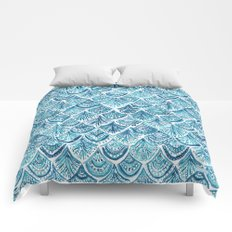 NAVY LIKE A MERMAID Fish Scales Watercolor Comforters