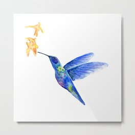 WATERCOLOR HUMMINGBIRD AND FLOWERS Metal Print