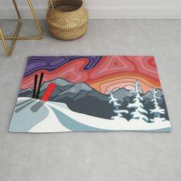 Snow Sport Sunset Landscape   Landscape Series   DopeyArt Rug