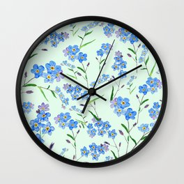 forget me not in green background Wall Clock