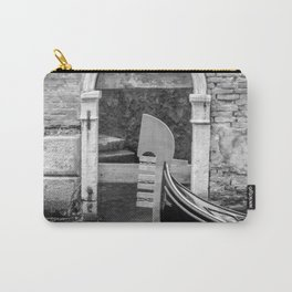 Gondola Ferro, passing canal door, Venice Italy  black and white image  Carry-All Pouch