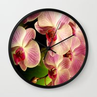 orchid Wall Clocks featuring orchid by Bitifoto