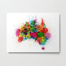 Australia Paint Splashes Map Metal Print