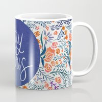 navy Mugs featuring Stay Curious – Navy & Coral by Cat Coquillette