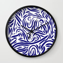 Abstract Blue and White pattern Wall Clock