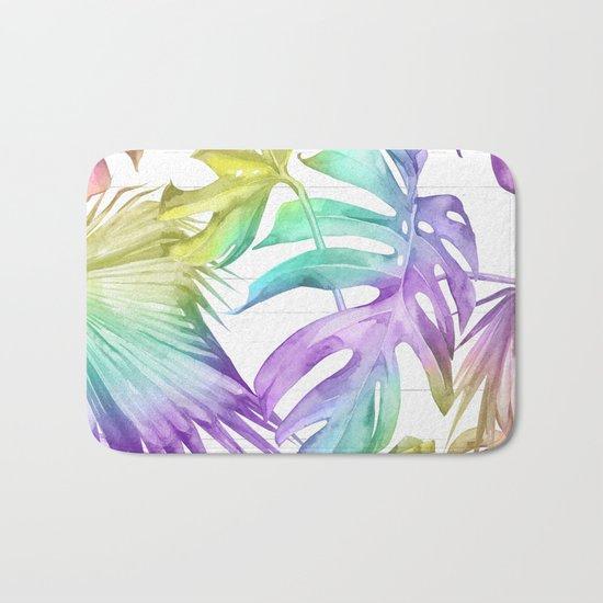 Tropical Rainbow Palm Leaves on Wood Bath Mat
