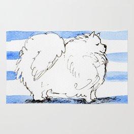 Samoyed Samuel, Lover of Stripes Rug