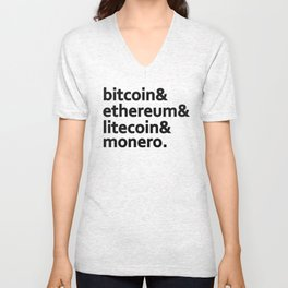 bitcoin & ethereum & litecoin & monero. Unisex V-Neck