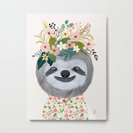 Sloth with flowers on head Metal Print