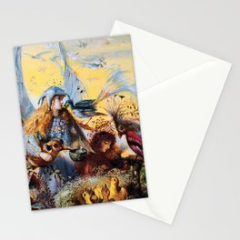 Fairies with birds by John Fitzgerald Anster Stationery Cards