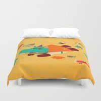 hippo Duvet Covers featuring Super Hippo! by Irene Chan