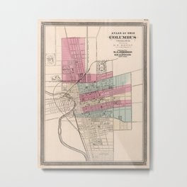 Vintage Map of Columbus Ohio (1868) Metal Print