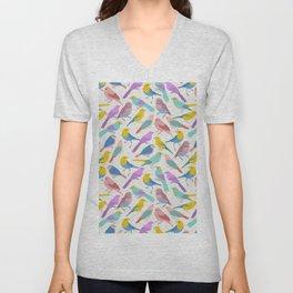 Dazzling Colored Bird Pattern Unisex V-Neck
