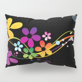 Cut Paper Flowers and Ferns on Black  15K Pillow Sham