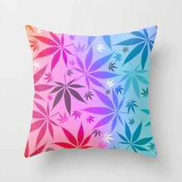 Colorful Marijuana Pattern Throw Pillow